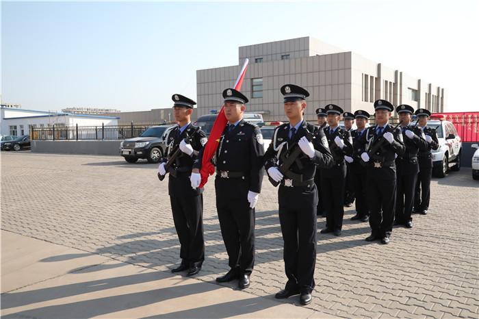 内蒙古达拉特旗开发区派出所庆祝伟大祖国70华诞,举行隆重的升国旗仪式