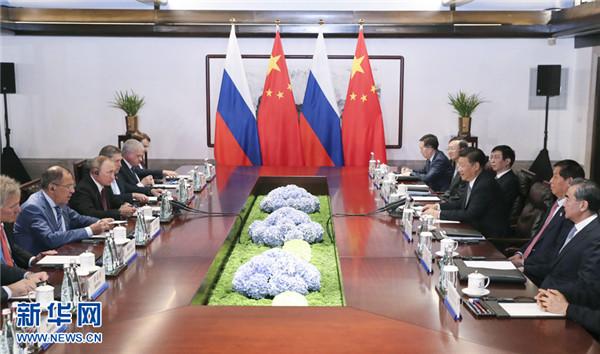 国家主席习近平在厦门会见俄罗斯总统普京